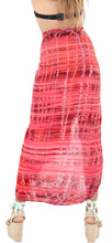 "Load image into Gallery viewer, LA LEELA Tie Slit Pareo Women Beach Sarong Bikini Cover up Tie Dye 78""X43"" Red_4448"