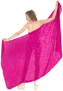 "LA LEELA Pareo Suit Women Beach Sarong Bikini Cover up Tie Dye 78""X43"" Pink_4462"