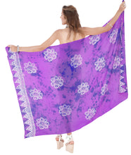 Load image into Gallery viewer, la-leela-rayon-women-wrap-swimsuit-cover-up-sarong-printed-78x43-purple_4470