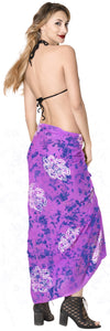 "LA LEELA Rayon Women Wrap Swimsuit Cover Up Sarong Printed 78""X43"" Purple_4470"