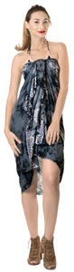 "LA LEELA Rayon Scarf Deal Dress Bikini Wrap Sarong Printed 78""X43"" Black_4471"