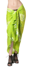 Load image into Gallery viewer, la-leela-rayon-bathing-suit-tie-slit-sarong-printed-78x43-parrot-green_4472