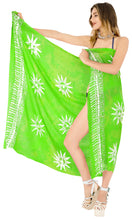 "Load image into Gallery viewer, La Leela Swimwear Rayon Bathing Towel Women Wrap Swimsuit Sarong Printed 78""X43"" Parrot Green_4479"