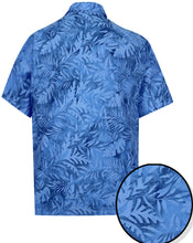 Load image into Gallery viewer, la-leela-men-casual-wear-cotton-hand-palm-leaf-printed-blue-hawaiian-shirt-size-s-xxl