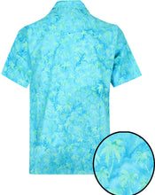 Load image into Gallery viewer, la-leela-men-casual-wear-cotton-hand-palm-tree-printed-turquoise-green-hawaiian-shirt-size-s-xxl