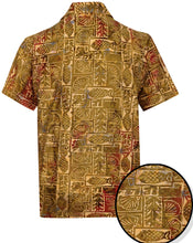 Load image into Gallery viewer, la-leela-men-casual-beachwaer-cotto-shortsleeve-hawaiian-men-shirt-for-aloha-tropical-beach-front-pocket-golden-brown