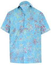 Load image into Gallery viewer, la-leela-men-casual-wear-cotton-palm-tree-hand-printed-turquoise-hawaiian-shirt-size-s-xxl