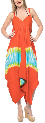 LA LEELA DRESS Beach Cover up Rayon Tie Dye Casual Strapless Cover Up OSFM 14-16 [L-1X] Orange_3485