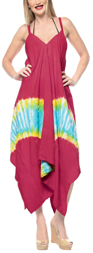 LA LEELA Casual DRESS Beach Cover up Rayon Tie Dye Short Office OSFM 14-16 [L-1X] Pink_3488