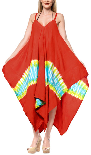 LA LEELA Rayon Tie Dye Tube Casual DRESS Beach Cover upes Strapless OSFM 14-16 [L-1X] Red_3489