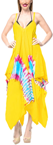 LA LEELA DRESS Beach Cover up Rayon Tie Dye Casual Swimwear Stretchy OSFM 14-16 [L-1X] Yellow_3490
