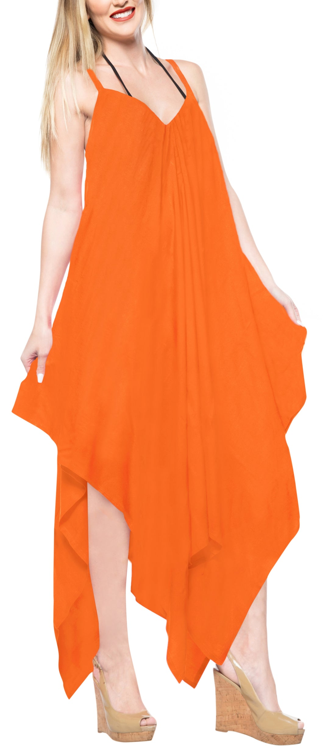 la-leela-beach-dress-solid-cruise-length-knee-halter-top-osfm-14-16-orange_3426