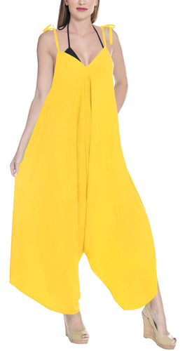 LA LEELA Rayon Solid Womens Beach Wear Casual DRESS Beach Cover upes Yellow 3494 One Size