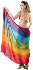 "LA LEELA Cover Up Wrap Sarong Bikini Cover up Tie Dye 78""X43"" Mutlicolored_4486"