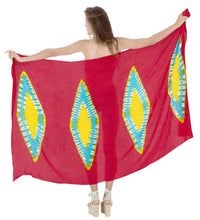 Load image into Gallery viewer, la-leela-hawaiian-women-wrap-swim-suit-sarong-tie-dye-78x43-red_4528