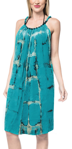 LA LEELA Casual DRESS Beach Cover up Rayon Tie Dye Beach Stretchy OSFM 14-18 [L-2X] Sea Green_3479