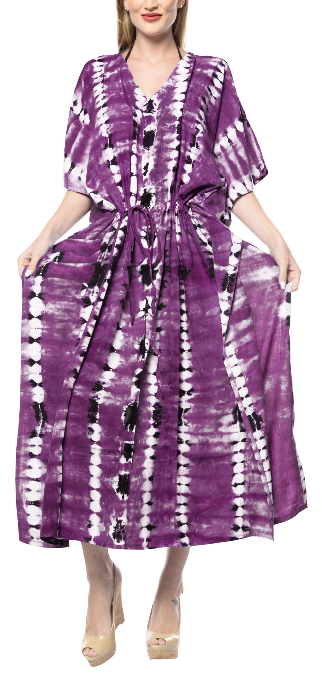 LA LEELA Rayon Tie_Dye Caftan Beach Dress Women Purple_1369 OSFM 14-32W