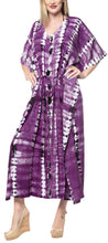 Load image into Gallery viewer, LA LEELA Rayon Tie_Dye Caftan Beach Dress Women Purple_1369 OSFM 14-32W