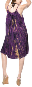 LA LEELA Beach Dress Rayon Tie Dye Cover Up Skirt Party OSFM 14-18  Purple_3539