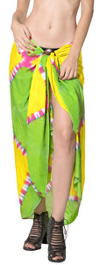 "LA LEELA Bikini Cover Up Pareo Sarong Bikini Cover up Tie Dye 78""X43"" Green_4529"