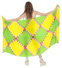 "Load image into Gallery viewer, LA LEELA Bikini Cover Up Pareo Sarong Bikini Cover up Tie Dye 78""X43"" Green_4529"