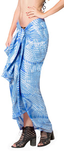 "LA LEELA Beach Cover Up Wrap Sarong Bikini Cover up Tie Dye 78""X43"" Royal Blue_4531"