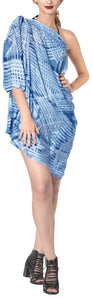 "LA LEELA Rayon Beach Swimsuit Sarong Bikini Cover up Tie Dye 78""X43"" Blue_4536"