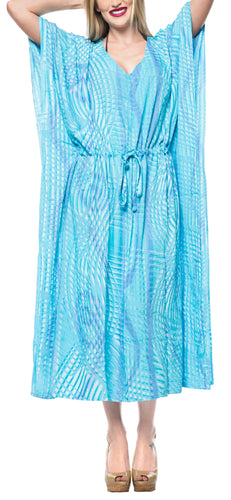 LA LEELA Lounge Rayon Tie_Dye Long Caftan Dress Women Turquoise_1374 OSFM 14-32W [L-5X]