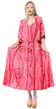 Load image into Gallery viewer, la-leela-rayon-tie_dye-caftan-tunic-beach-dress-women-red_1376-osfm-14-32w