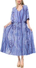 Load image into Gallery viewer, la-leela-rayon-tie_dye-caftan-beach-dress-women-blue_1379-osfm-14-32w