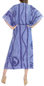 LA LEELA Rayon Tie_Dye Caftan Beach Dress Women Blue_1379 OSFM 14-32W