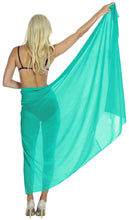 Load image into Gallery viewer, la-leela-sheer-chiffon-swimwear-wrap-women-swimsuit-sarong-solid-88x42-sea-green_1637
