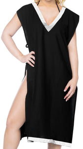 LA LEELA-Women's-Beach-Swimsuit-for-Women-Cover-ups-Printed-Bikini-Beach wear-Cover-Up-Solid-Plain-Black