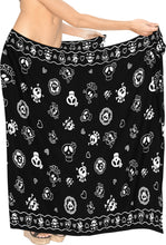 Load image into Gallery viewer, La-Leela-Soft-Light-Long-Swim-Women's-Skull-Halloween-Costume-Swimsuit-Pareo-Cover-Ups-Beach-Sarong-Halloween Black_B928