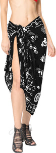 La Leela Soft Light Long Swim Women's Skull Halloween Costume Swimsuit Pareo Cover Ups Beach Sarong Halloween Black_B928
