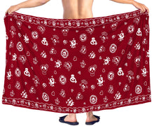 Load image into Gallery viewer, la-leela-beach-wear-mens-sarong-pareo-wrap-cover-upss-bathing-suit-beach-towel-swimming-Blood Red_B926