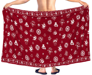 la-leela-beach-wear-mens-sarong-pareo-wrap-cover-upss-bathing-suit-beach-towel-swimming-Blood Red_B926