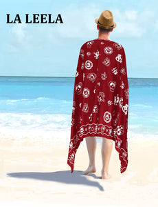 LA LEELA Beach Wear Mens Sarong Pareo Wrap Cover upss Bathing Suit Beach Towel Swimming Blood Red_B926