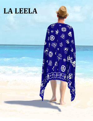 LA LEELA Beach Wear Mens Sarong Pareo Wrap Cover upss Bathing Suit Beach Towel Swimming Blue_B924
