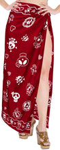 "Load image into Gallery viewer, La Leela Soft Light Beach Long Swimsuit Girls Sarong Printed 88""X39"" Red_2540"