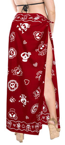 "La Leela Soft Light Beach Long Swimsuit Girls Sarong Printed 88""X39"" Red_2540"