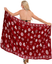 Load image into Gallery viewer, la-leela-soft-light-beach-long-swimsuit-girls-sarong-printed-88x39-red_2540