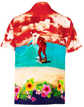 Load image into Gallery viewer, la-leela-mens-casual-beach-hawaiian-shirt-aloha-christmas-santa-front-pocket-short-sleeve-orange_w586