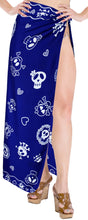 Load image into Gallery viewer, la-leela-soft-light-beach-long-swimsuit-sarong-printed-78x39-royal-blue_58