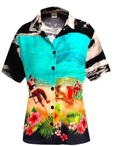 LA LEELA Relaxed Hawaiian Shirt Santa Blouses Button Down Christmas Short Sleeves Black_X182