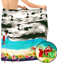 Load image into Gallery viewer, la-leela-christmas-santa-beach-pareo-bathing-mens-wrap-78x39-black_7112