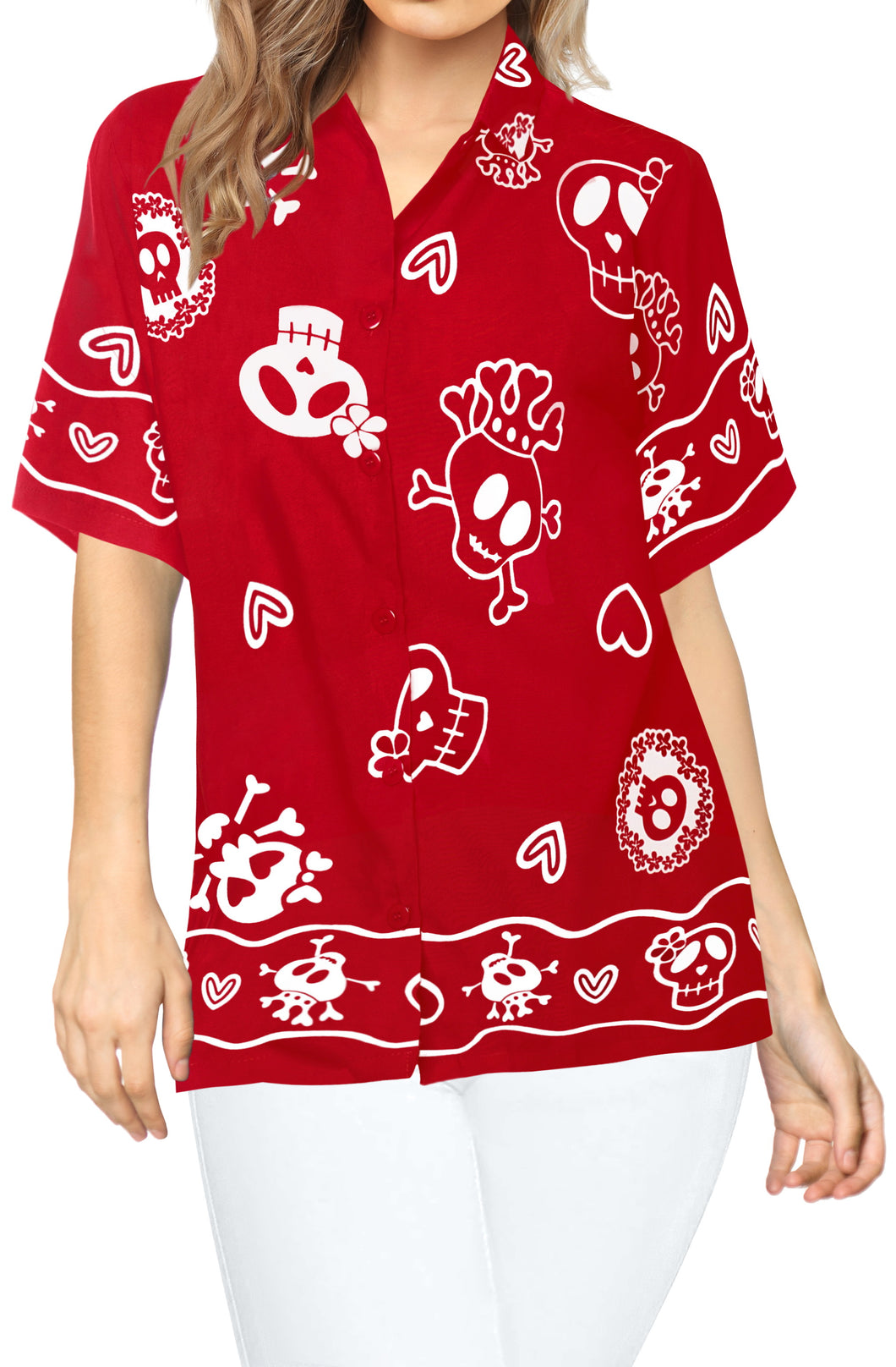 LA LEELA-Womens-Skull-Halloween-Costume-Casual-Beach-Hawaiian-Shirts-Printed-Red