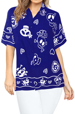 LA LEELA-Womens-Skull-Halloween-Costume-Casual-Beach-Hawaiian-Shirts-Printed-Blue-Skulls-printed