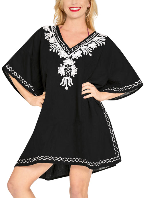 LA LEELA-Loose-Kimono-Deep-Neck-Beachwear-Swimwear-Swimsuit-Bikini-Cover-up-Blouse-L - 2X-Black