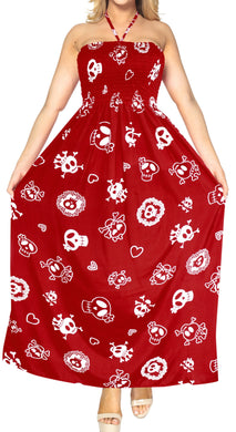 la-leela-evening-beach-swimwear-soft-Printed-Skull-vintage-vacation-tube-dress-women-Red